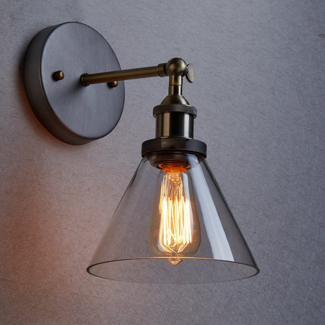 CLAXY Ecopower Industrial Edison Antique Glass 1-Light Wall Sconces Simplicity