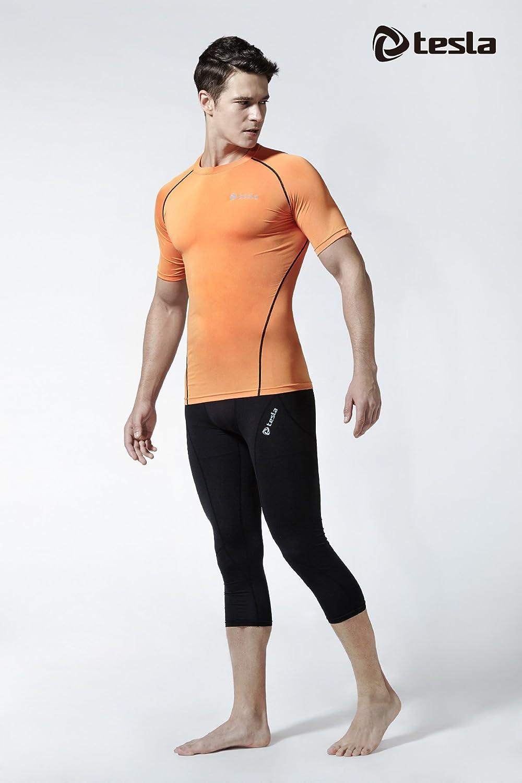 TSLA TM-R13-ORKZ/_X-Small Mens Short Sleeve T-Shirt Cool Dry Compression Baselayer R13