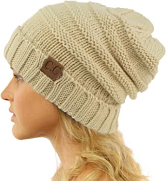 CC Winter Trendy Warm Oversized Chunky Baggy Stretchy Slouchy Skully Beanie Hat