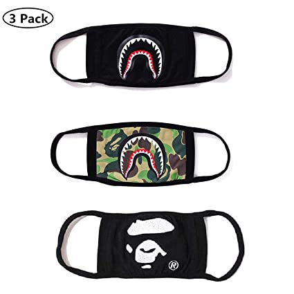 f874eace Image Unavailable. Image not available for. Color: NF orange 3 Pack Bape  Bathing Ape AAPE Shark Black Camouflage Mouth Face Mask Cotton Mouth