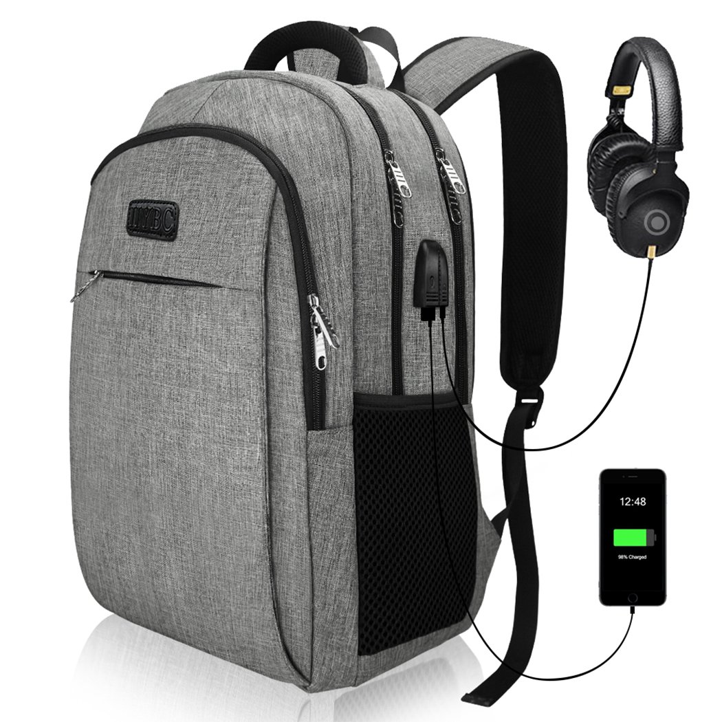 Travel Laptop Backpack, Business Laptop Backpacks with USB Charging Port and Headphone Interface, Waterproof College School Computer Bag for Men/Women Fits 15.6 Inch Laptop and Tablet by IIYBC