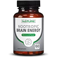 Nootropic Brain Energy Booster Supplement for Focus and Memory Support, 60 Capsules (30 Day Supply)