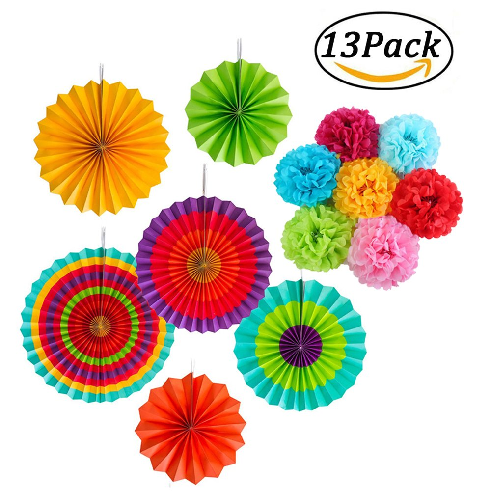 13pcs Party Decoration Kit Paper Fans Paper Pom Poms Flower for Birthday Wedding Carnival Baby Shower Room Bachelorette Nursery Decor simuer