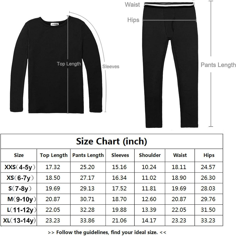 GAZIAR Kids Thermal Underwear Ultra Soft Fleece Lined Boys Girls Base Layer Long John Set Sleepwear Pajamas 3-9Y