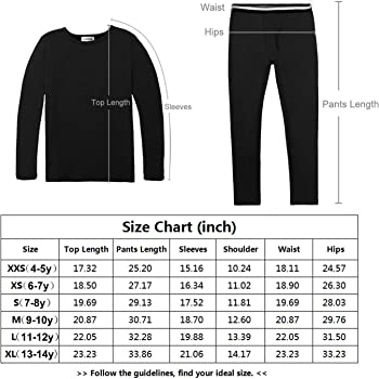 GAZIAR Boys Thermal Underwear Long John Set Soft Fleece Tops/and/Bottoms for Kids Boys 2 Pack