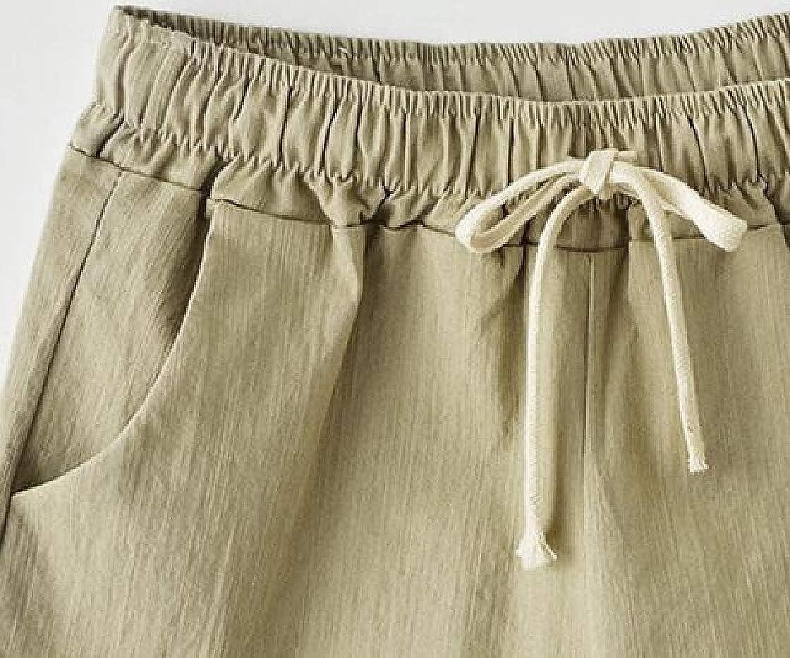 Etecredpow Women Cuffed Elastic Waist Casual Drawstring Short