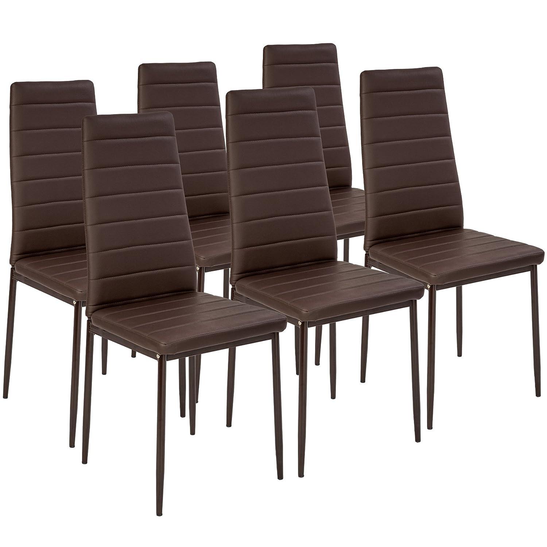 TecTake Set de sillas de Comedor 41x45x98,5cm - Disponible en Diferentes Colores y cantidades - (6X Marrón | No. 401849)