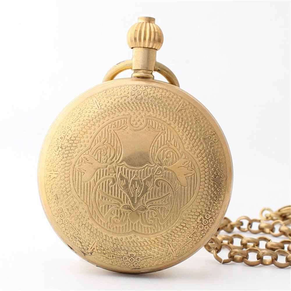 Zxcvlina Classic Smooth Creative Carving Golden Retro Pocket Watch Unisex Copper Mechanical Pocket Watch with Chain for Gift Suitable for Gift Giving