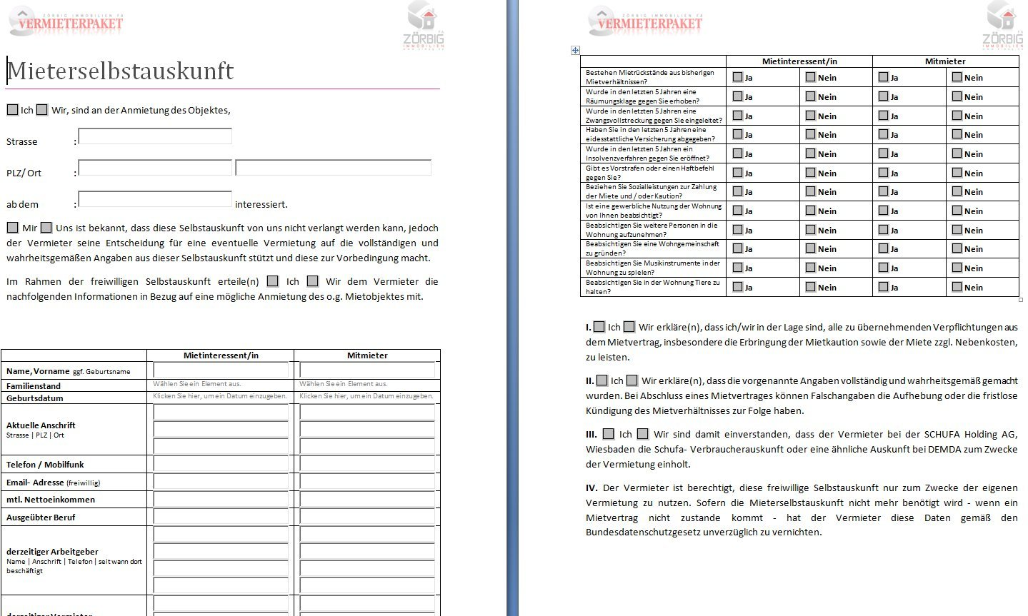 Mieterselbstauskunft [PDF-Download] und [DOC-Download]: Amazon.de ...