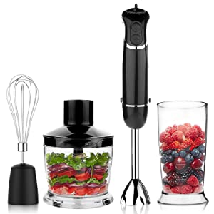 OXA Smart Powerful 4-in-1 Versatile Immersion Hand Blender Set 12-Speed(6X2) Control - Includes 500ml Food Chopper, Egg Whisk, and BPA-Free Beaker (600ml) - Black