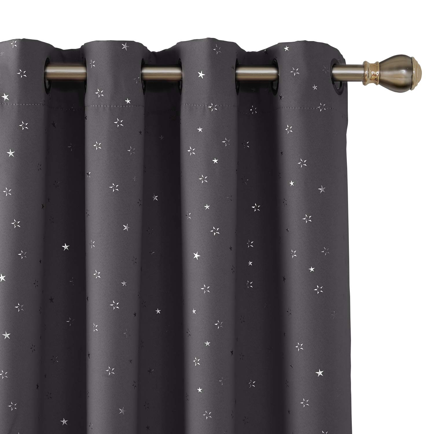 Deconovo Silver Star Foil Print Grommet Blackout Curtains Navy Blue Curtains Room Darkening Thermal Insulated Curtains for Bedroom 38 x 45 inches 2 Panels