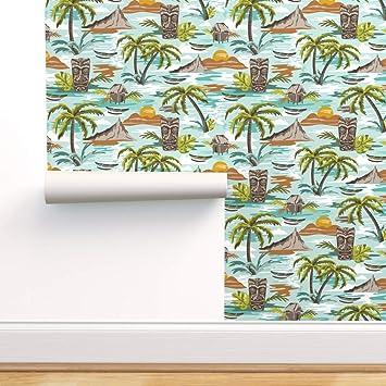 Removable Water-Activated Wallpaper Vintage Hawaii Tiki Retro Hawaiian Polypop