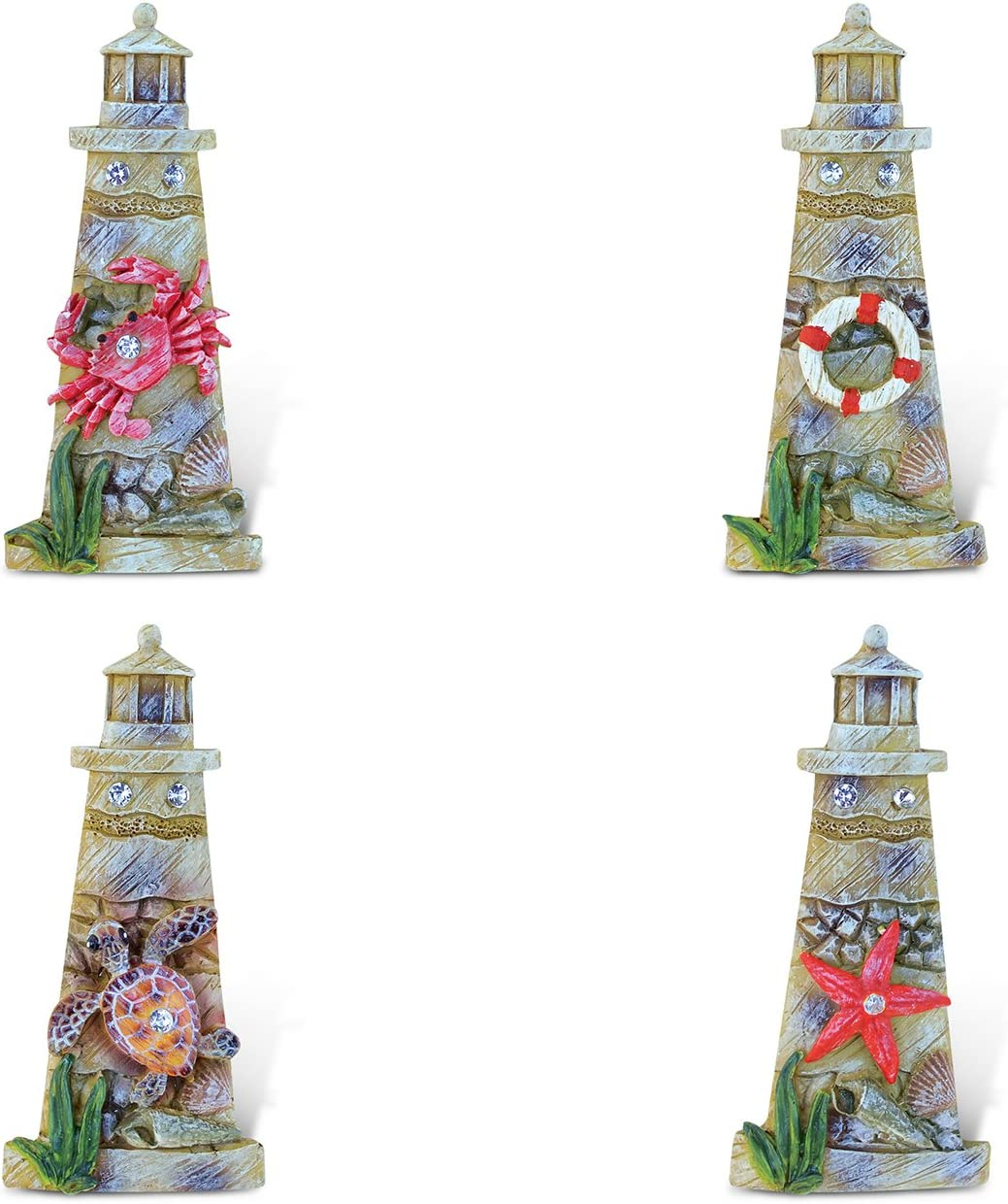 Puzzled Lighthouse Refrigerator Rockstone Magnet - Lighthouses Theme - Set of 4 - Unique Affordable Gift and Souvenir - Item #7601