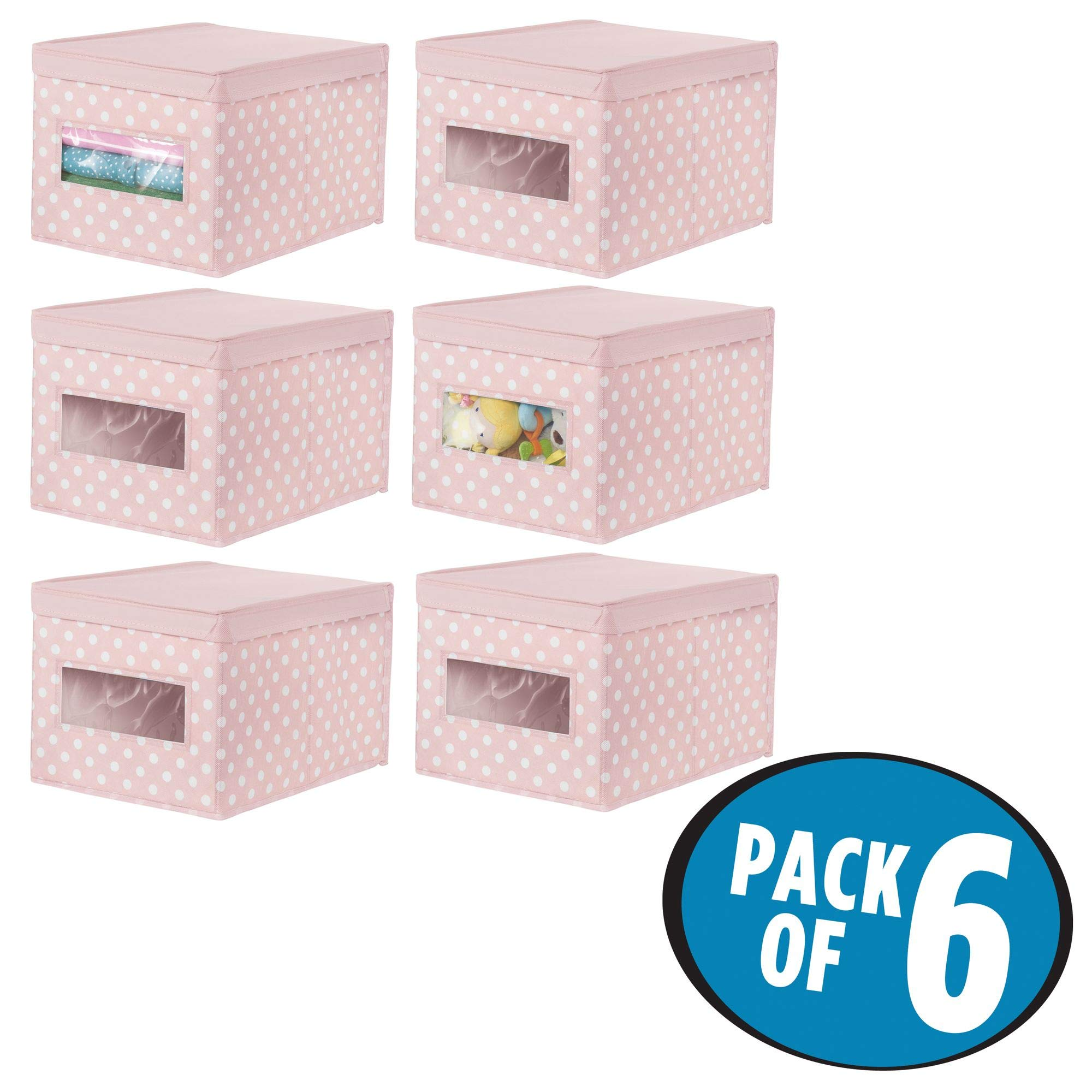 mDesign Soft Stackable Fabric Closet Storage Organizer Holder Box - Clear Window, Attached Hinged Lid, for Child/Kids Girls Room, Nursery, Playroom - Polka Dot- Large, 6 Pack - Pink with White Dots