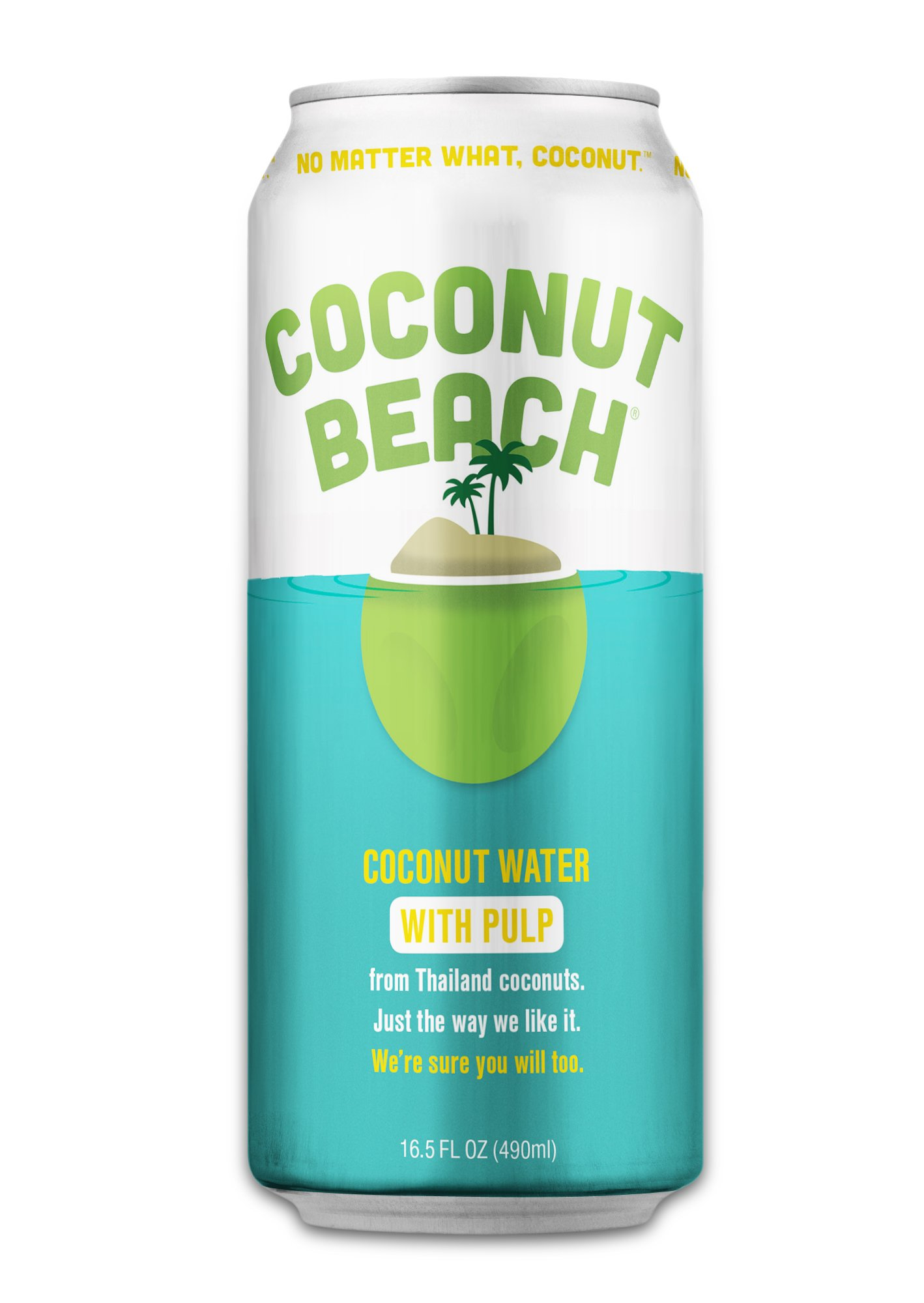 Coconut Beach Coconut Water With Pulp, 16.5 Ounce, (Count of 12)