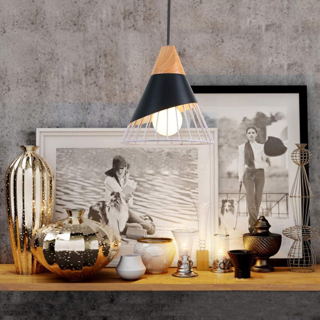 Kronleuchter Modern Einfach Beleuchtung Deckenleuchte LED Wohnzimmer Schlafzimmer K/üche Bad Kreativ Kegel H/ängeleuchte Eisen E27 40W 25 Schwarz 27CM Kabell/änge 120CM Einstellbar
