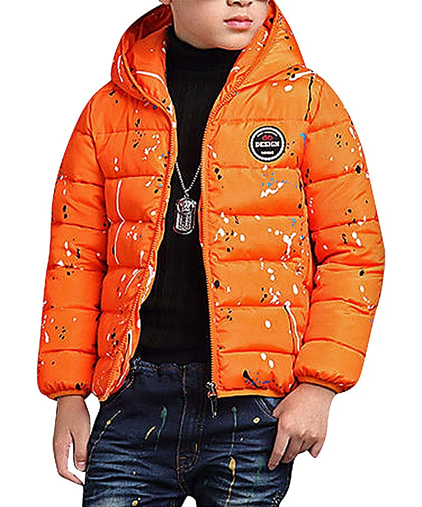 BPrince Boys Medium Quilted Cotton Filled Zip Up Funnel Neck Hooded Jacket