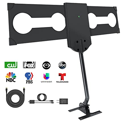 TV Antenna,GJT HDTV Antenna Digital 150 Mile Rang HD Antenna with Amplifier  Signal Booster Outdoor/Attic/Roof Omnidirectional Reception-4K FM/VHF/UHF