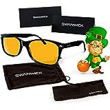 Swannies Blue Light Blocking Glasses - Gamer and Computer Eyewear for Deep Sleep and Digital Eye Strain Prevention - by Swanwick Sleep (Black) Regular