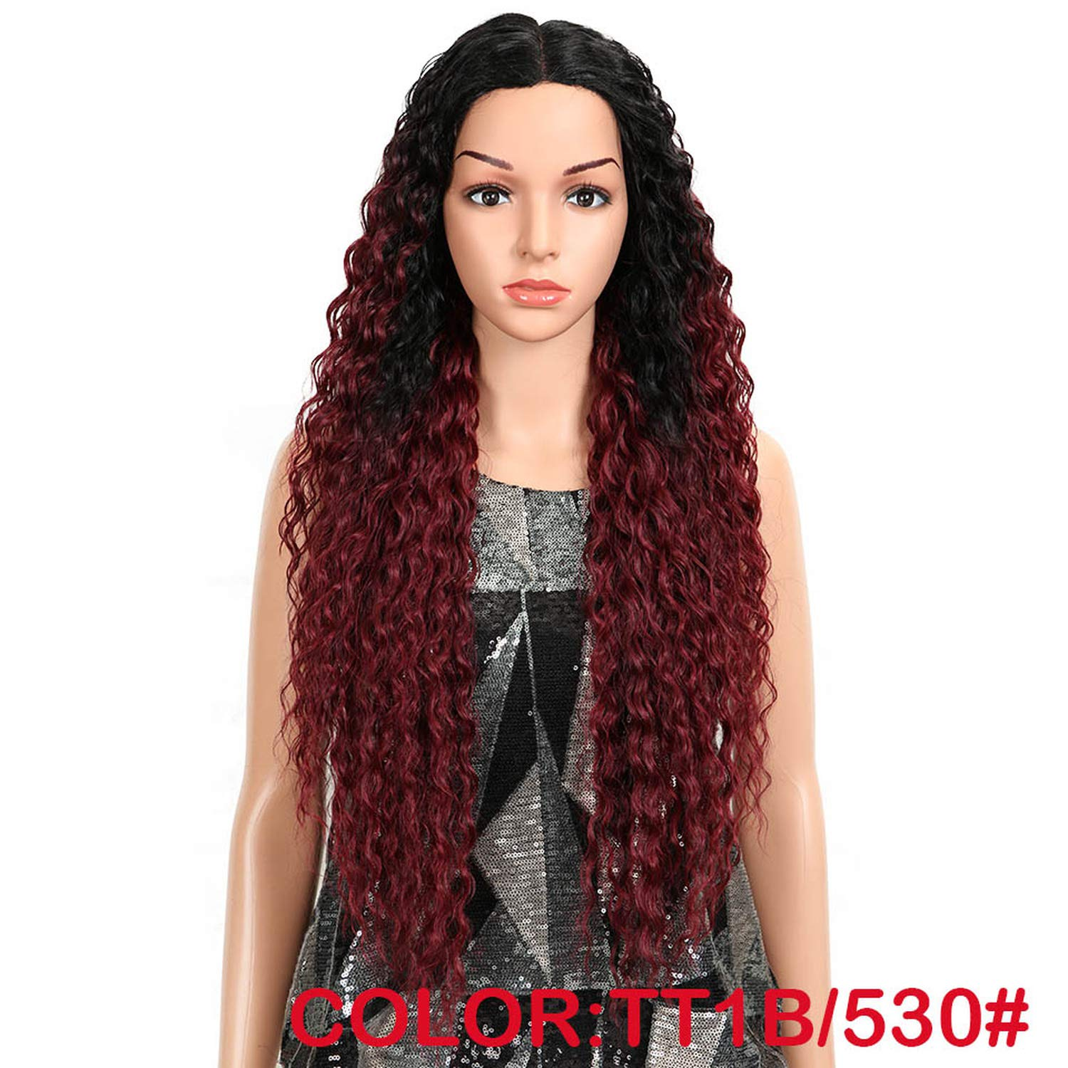 Solarphoenix Hair Curly Glueless High Temperature Fiber Hair 32 Inch Natural Blonde Synthetic Lace Front Wigs For Black Women,TT1B 530,150%,Part,32inches