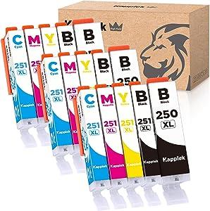 Kappiek 250XL 251XL Compatible Ink Cartridges Replacement for Canon Ink Cartridges 250 and 251, for Canon Pixma MX922 IX6820 IP7220 IP8720 MG5520 MG5420 MG5620 MG6620 MG6320 MG7120 Printer (15-Pack)