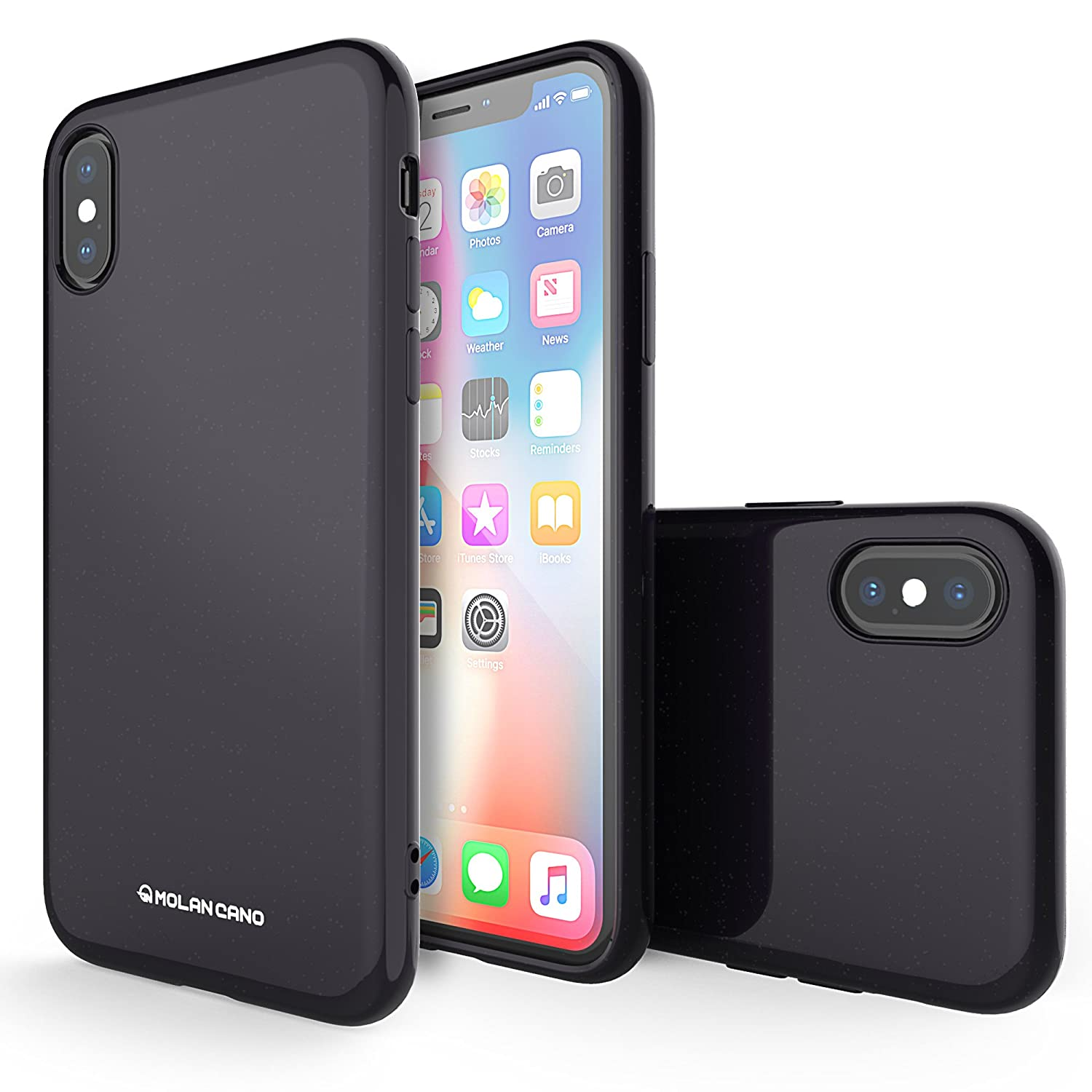 iPhone X Case, Molan Cano Thin Protective Shock Absorption Bumper Soft TPU Cover Case for Apple iPhone X - Glitter Black