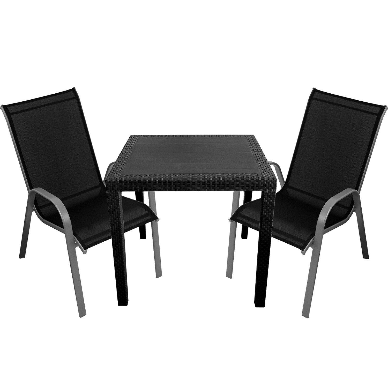 3tlg gartenm bel set kunststoff gartentisch 79x79cm mit rattan look 2x stapelst hle silber. Black Bedroom Furniture Sets. Home Design Ideas