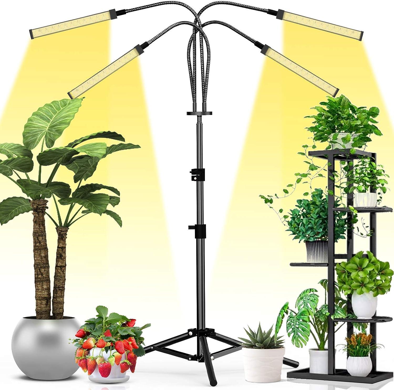 10 brightness 3H // 6H // 12H timing function 3 mode growth lamp for garden planting houseplants 3 Heads 156 LEDs Sunlike grow light 72W Plant Light Full Spectrum LED Grow Light for Indoor Plants