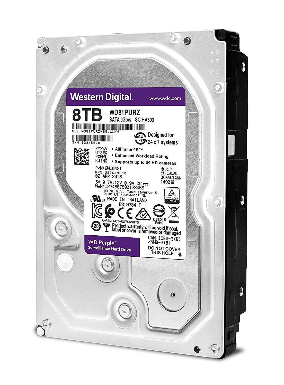 WD Purple 8TB Surveillance Internal Hard Drive - 5400 RPM Class, SATA 6 Gb/s, 256 MB Cache, 3.5'' - WD81PURZ by Western Digital (Image #2)