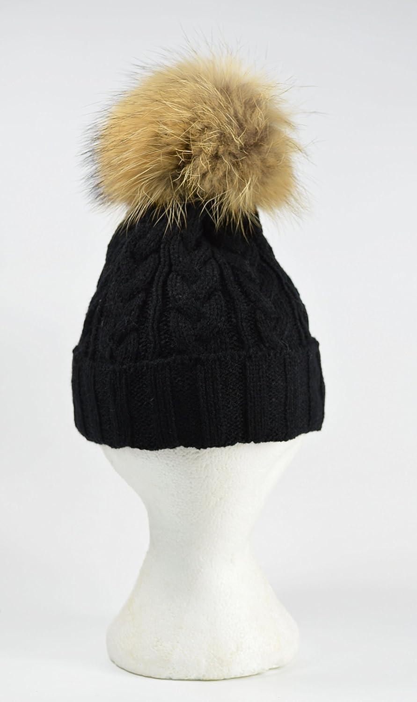 f940b4efb53 Câble en tricot bonnet à pompon avec fourrure de Raton laveur détachable  Pom Pom Bleu clair  Amazon.fr  Jardin