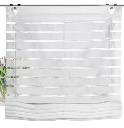 Home Decoration Ideas Horizontal Stripes Roller Blind With Window