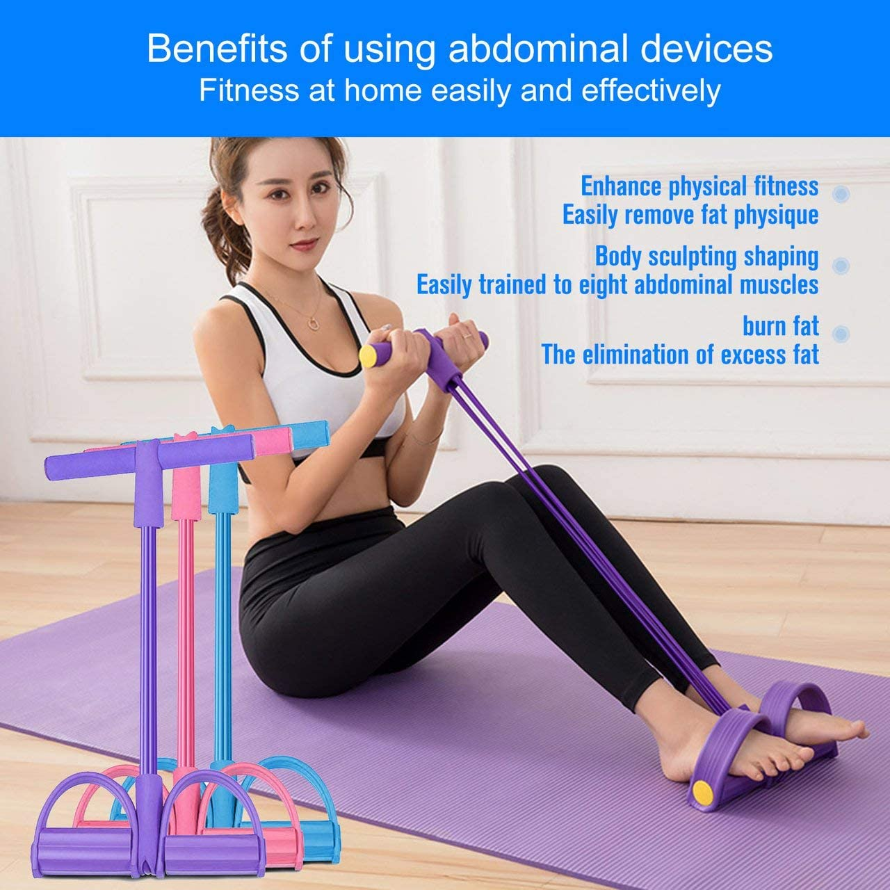 1pcs Multifunctional Fitness Equipment Pedal Puller Male And Female Arm Sit-ups Training Yoga Handle For Fitting purple Jasnyfall