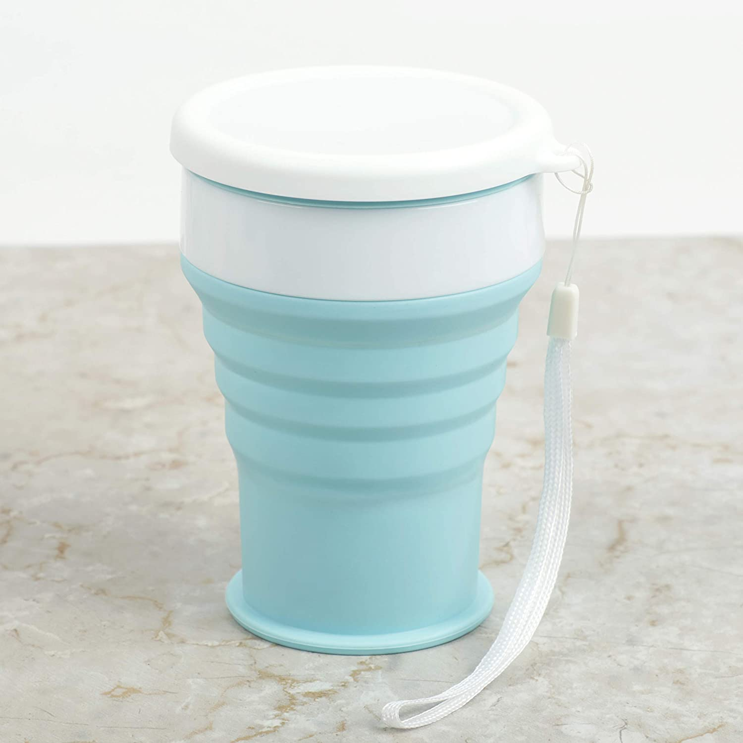 Stouge Collapsible Cups for Travel Camping Water Coffee Tea Mug Reusable Silicone Drinking Cup with Lid