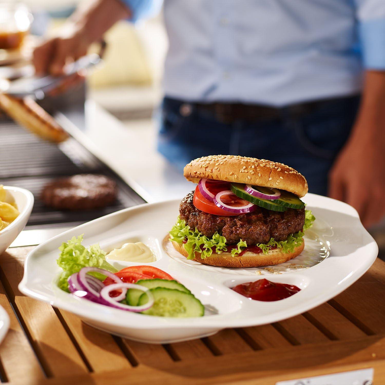 Dimensions : 36 x 21 x 3,5 cm Porcelaine Premium Villeroy /& Boch BBQ Passion Assiettes /à hamburger Lot de 2 Blanc