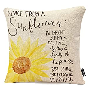 "oFloral Decorative Advice from A Sunflower Print Throw Pillow Cases for Sofa Bedroom Pillow Covers Gift Household Pillowcase 18"" X 18"" (Only Pillowcase)"