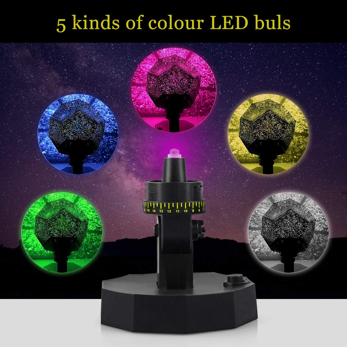Sunnec Star Projector Rotation DIY Star Projection Night Light with 5 Light Colors for Wedding,Birthday,Parties,Kids Bedroom