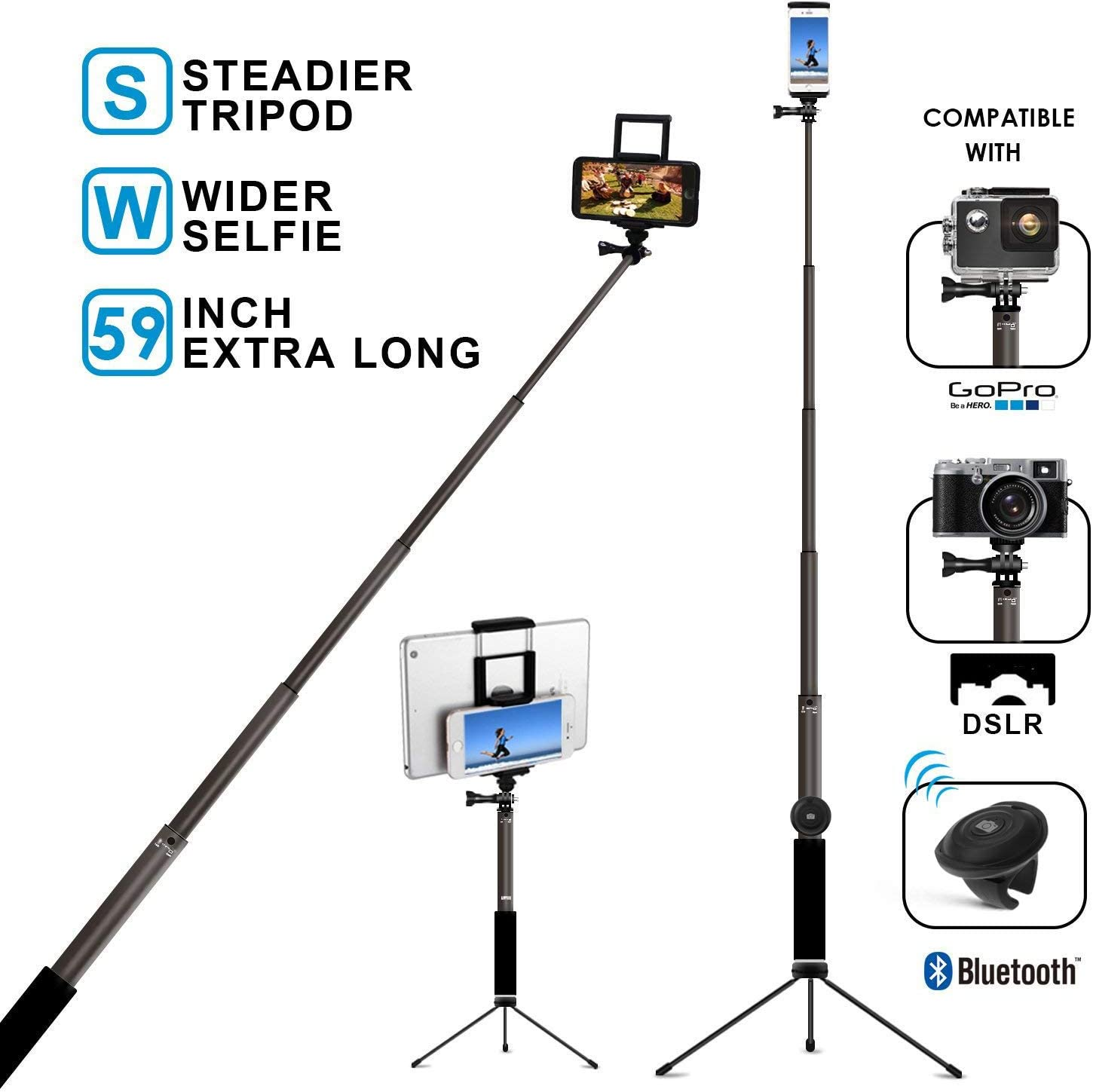 LoMe Lightweight Camera Tripod Multifunctional Aluminum Selfie Stick Tripod Stand 5-Section Can Turn to Selfie Stick//Stand
