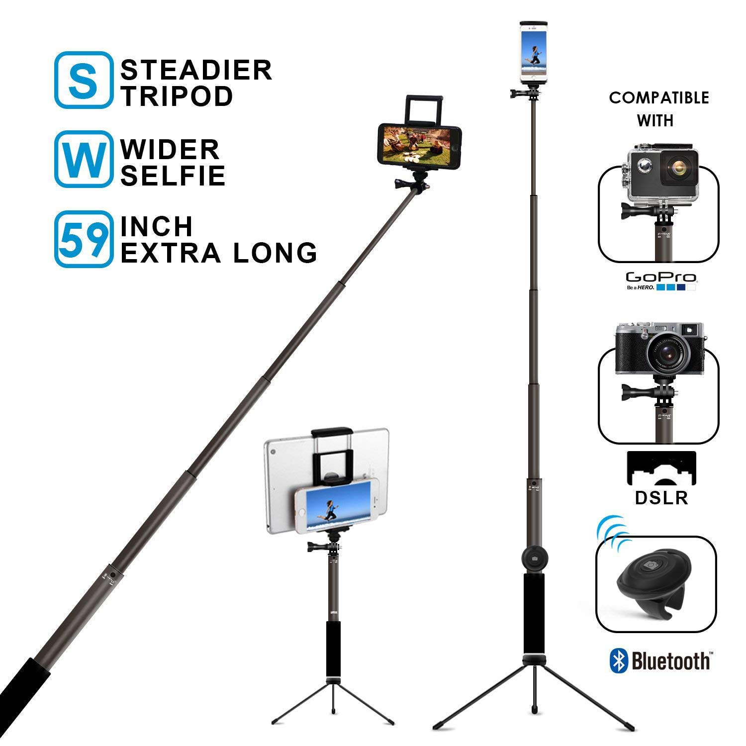 Bluetooth Selfie Stick with Tripod, Remote 59Inch MFW Extendable Monopod with Tripod Stand for iPhone X/XS max/XR/XS/8/7/6/Plus,Tablet,Samsung S7/S8/S9,Android,GoPro Cameras by MFW