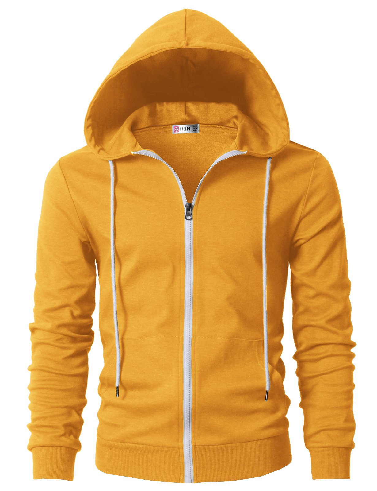 H2H Mens Active Comfy Slim Fit Full Zip up Long Sleeve Hoodie Cotton Jacket Mustard US S/Asia M (CMOHOL042)