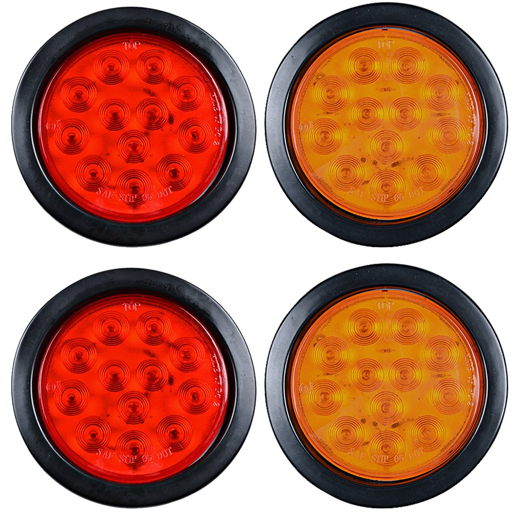 Led Truck Tail Lights >> 2 Red 2 Amber Round 4 12 Led Truck Trailer Rv Tail Brake Stop Turn Signal Lights
