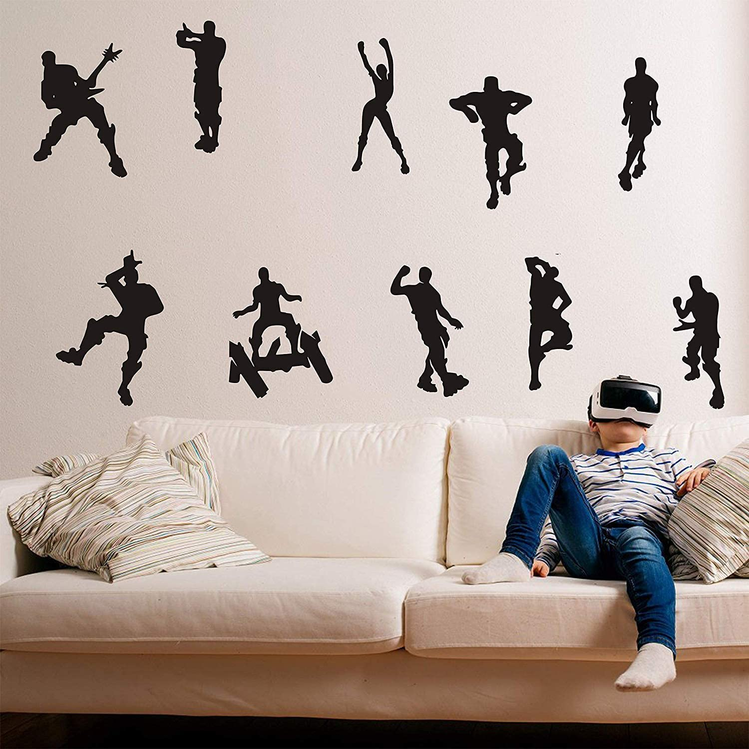 ALiQing Game Wall Decal Poster Music Skating Dancing Wall Stickers for Children Teenager Bedroom Playroom Wall Decoration (Black)
