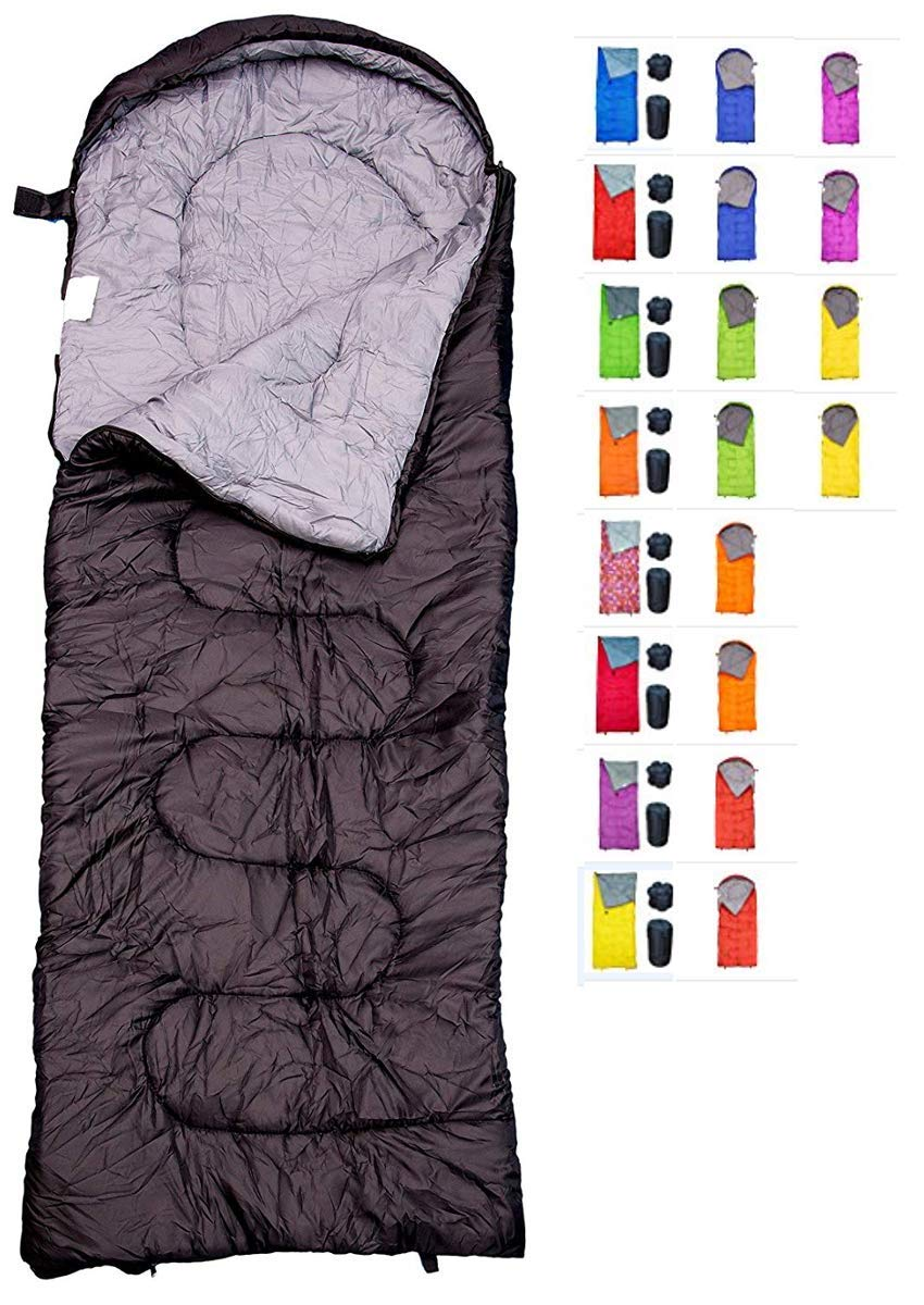 REVALCAMP Sleeping Bag for Cold Weather - 4 Season Envelope Shape Bags by Great for Kids, Teens & Adults. Warm and Lightweight - Perfect for Hiking, Backpacking & Camping (Black - Envelope Right Zip)