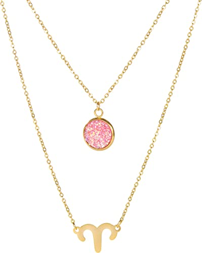 14K Gold Birthstone Capricorn Zodiac Sign Pendant Necklace Dec 22-Jan 19