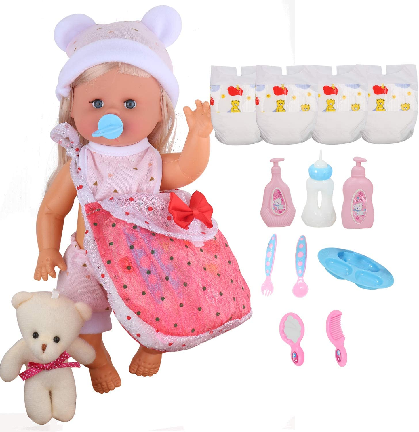19PCS Baby Doll Accessories for 7-8-9-10-11-12-13 Inch Baby Doll Clothes Reborn Newborn Costumes with 6 Diapers Bibs Feeding Set Bath Set Pretend Platset