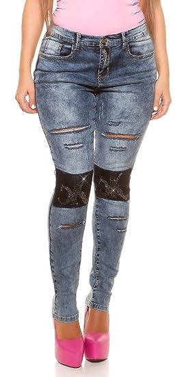 536fb44049b Womens Curvy Girls Plus size Ripped stylish Stretchy Skinny jeans ...