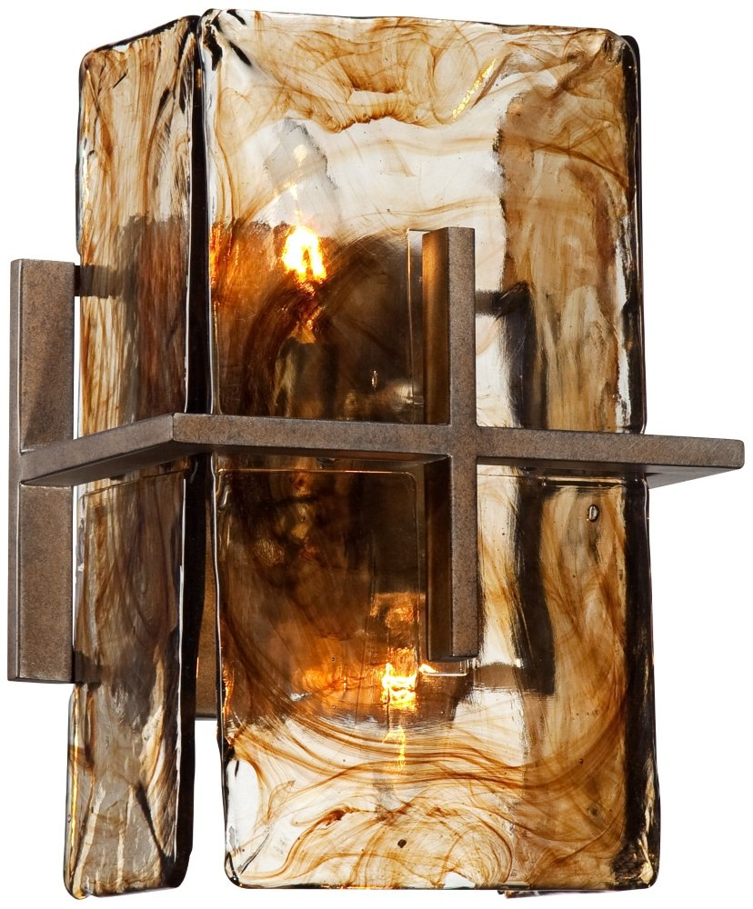 Bronze Gold Art Glass 8'' Wide Wall Sconce