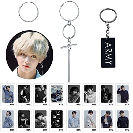 25e88bc877eab BTS gifts set for ARMY BTS earrings V Jimin Suga silver studing earrings  bts lomo cards bts keychain Bangtan boy gift set bts party decorations