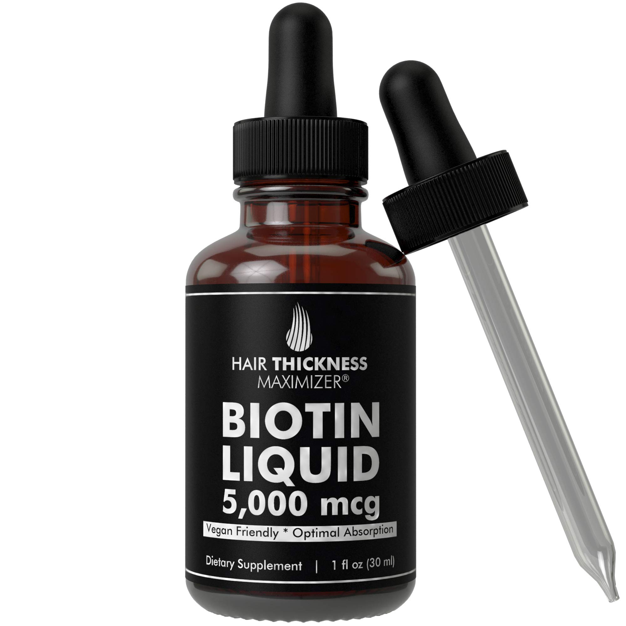 Liquid Vegan BIOTIN Drops 5000 MCG by Hair Thickness Maximizer. 30 to 60 Servings for Stronger, Thicker Hair. Made in USA. Combat Hair Loss + Thinning Hair. HIGH Absorption