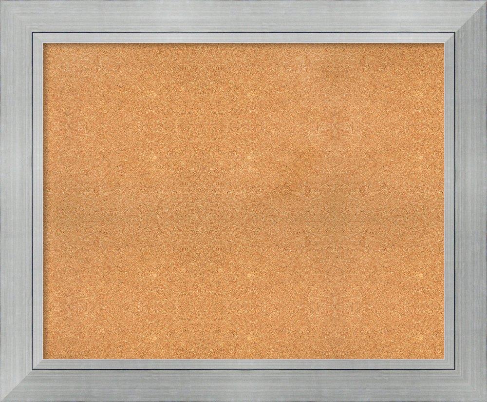 Amanti Art Wood Natural Cork Romano Silver Framed Bulletin Boards, 45 x 37