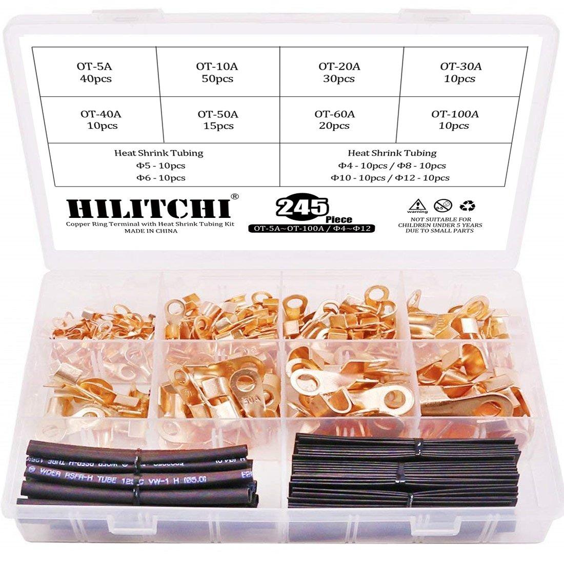 Hilitchi 245-Pcs Open Barrel Wire Crimp Copper Ring Lugs Terminal Connector with 2:1 Heat Shrink Tubing Assortment Kit - OT 5A 10A 20A 30A 40A 50A 60A 100A